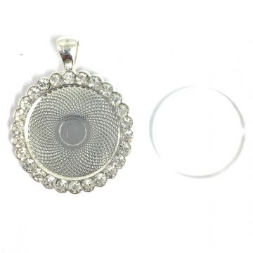 1pce x 35/25mm make your own pendant kit - round with crystal surround- silver plated - c17a3102